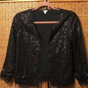 Simply stunning J.CREW black sequined cardigan XS